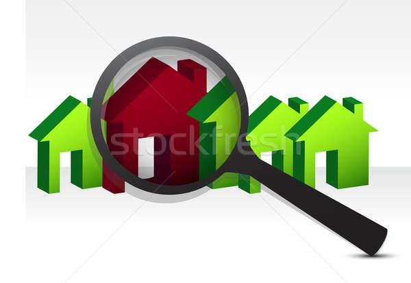 Stock fotó: Néz · tökéletes · ház · illusztráció · terv · fehér