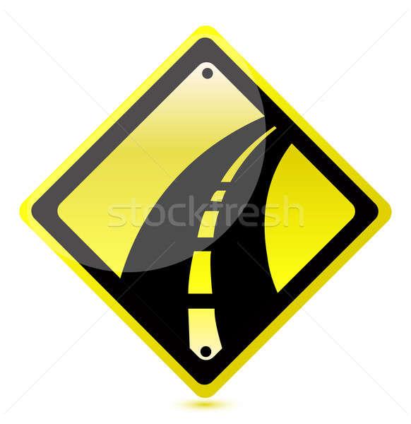 желтый шоссе знак иллюстрация дизайна белый бумаги Сток-фото © alexmillos