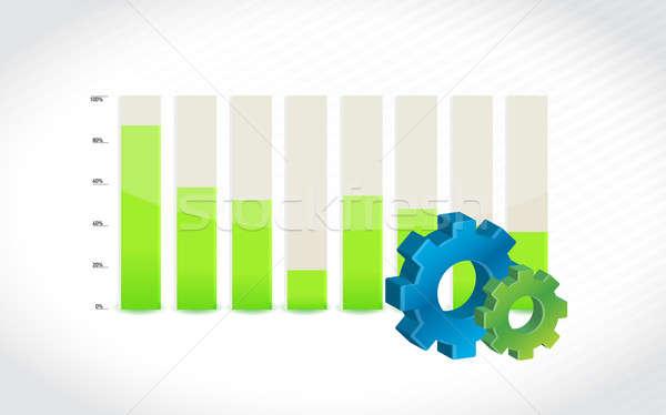 Versnelling icon staafdiagram diagram illustratie ontwerp Stockfoto © alexmillos