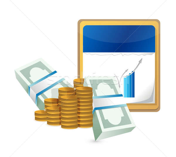 Calendar money and a business chart Stock photo © alexmillos