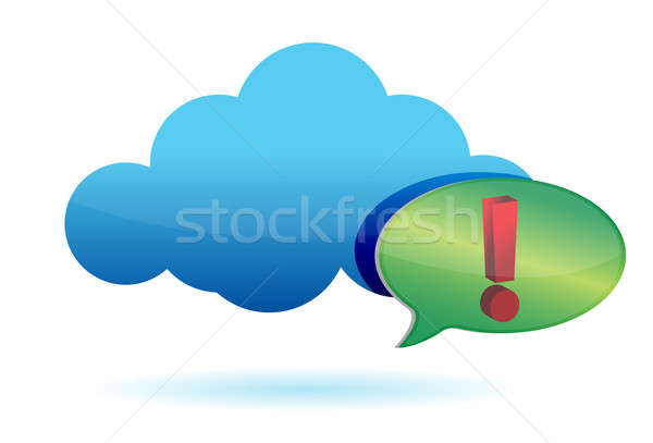 Cloud and exclamation sign illustration  Stock photo © alexmillos