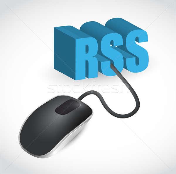 Rss знак мыши иллюстрация дизайна белый Сток-фото © alexmillos