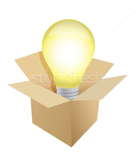 Box and Light Bulb illustration design Stock photo © alexmillos