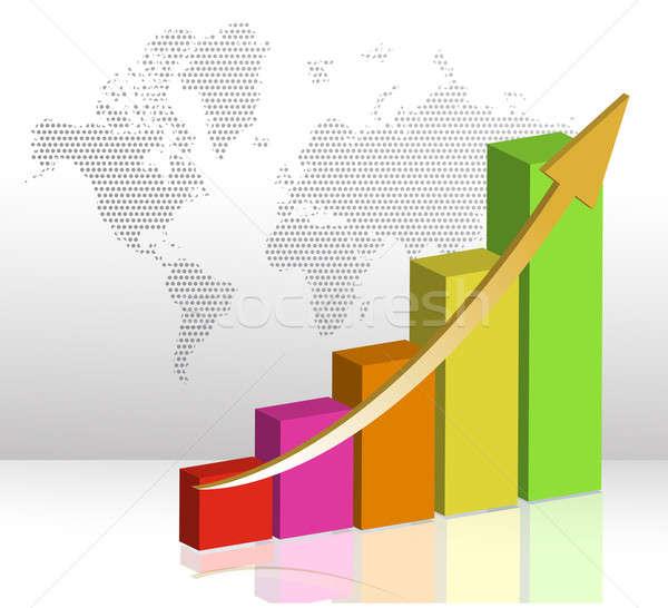 Kleurrijk business staafdiagram illustratie witte papier Stockfoto © alexmillos