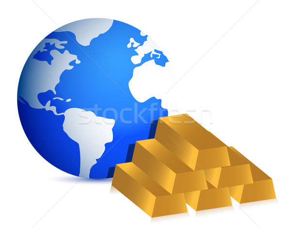 Earth globe and gold bars illustration Stock photo © alexmillos