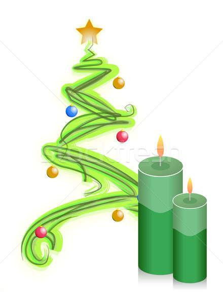 christmas tree and candles illustration Stock photo © alexmillos