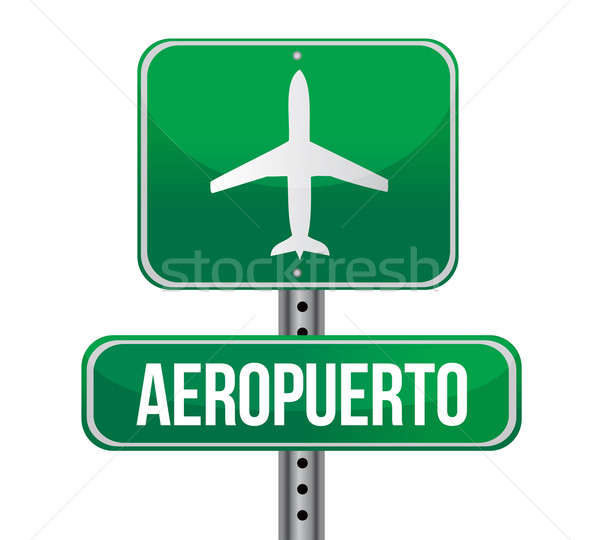Road sign shows direction of a nearby airport illustration