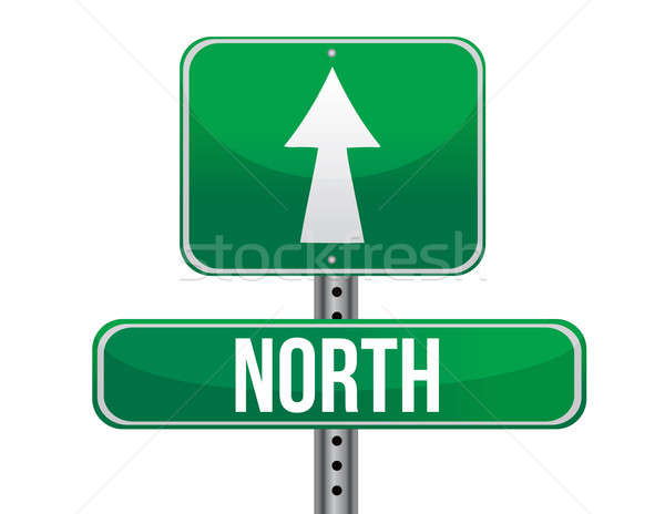 road sign to the north geographical direction illustration desig Stock photo © alexmillos