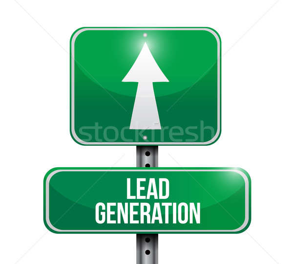 lead generation road sign illustration design over a white backg Stock photo © alexmillos