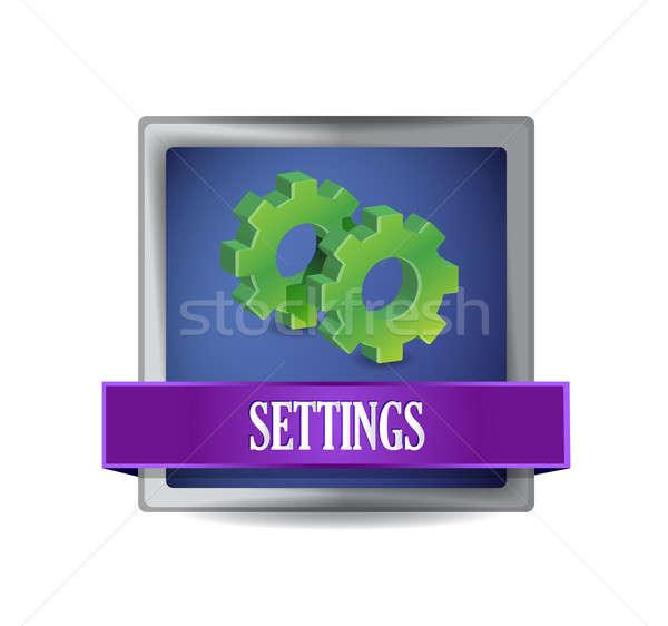 settings icon glossy blue button illustration design over white Stock photo © alexmillos