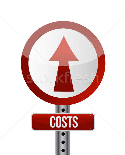 Illustration depicting a roadsign with a cost increase concept. Stock photo © alexmillos