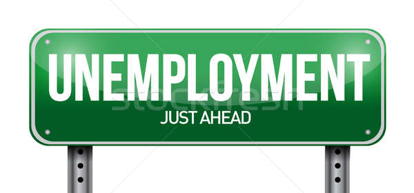 unemployment road sign illustration design over a white backgrou Stock photo © alexmillos