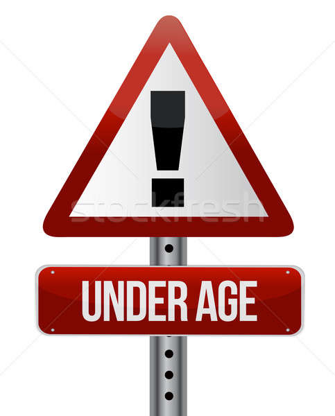 road traffic sign with an under age illustration design Stock photo © alexmillos