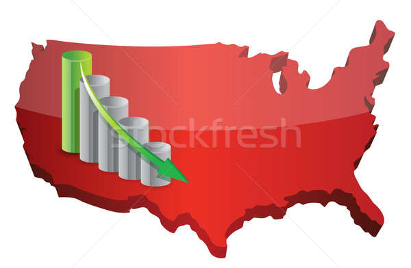 US Business fail graph illustration design over white Stock photo © alexmillos