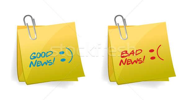 хорошие Плохие новости иллюстрация дизайна белый лице Сток-фото © alexmillos