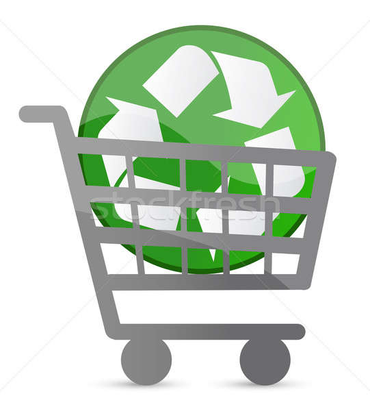 shopping card and recycle sign illustration design Stock photo © alexmillos