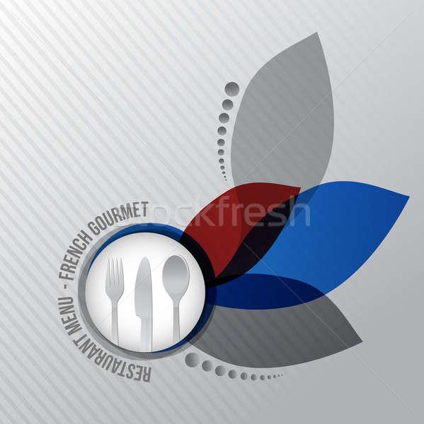 Restaurant menu French gourmet illustration design on white back Stock photo © alexmillos