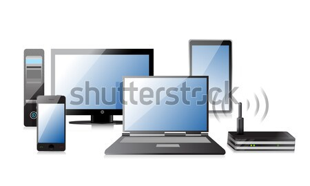 Computer, Laptop Tablet and Phone, router illustration design Stock photo © alexmillos