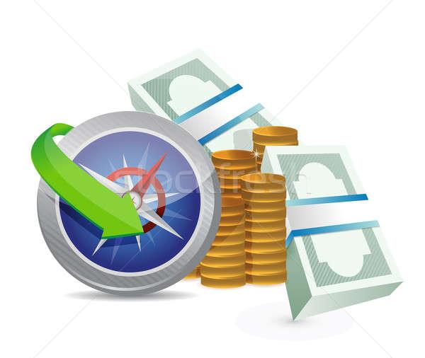 Bússola guiá rentabilidade papel metal mercado Foto stock © alexmillos