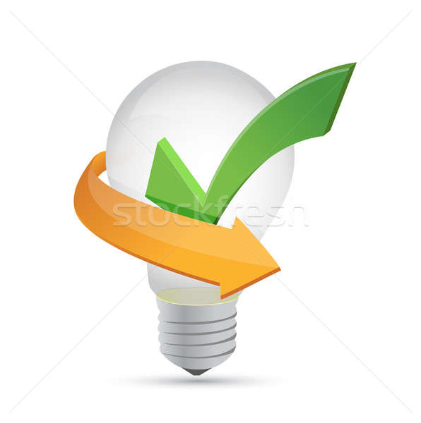 Green tick mark inside yellow bulb illustration  Stock photo © alexmillos