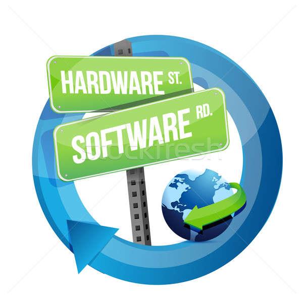 Hardware, software road sign illustration design  Stock photo © alexmillos