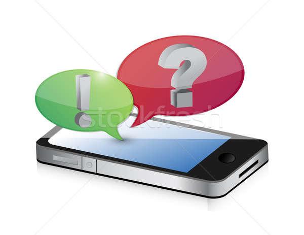 cellphone and bubble speech icon illustration design over white Stock photo © alexmillos
