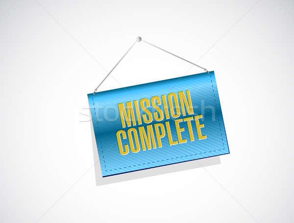 Missie compleet opknoping teken illustratie ontwerp Stockfoto © alexmillos