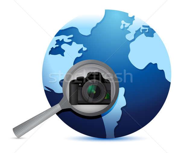 Kamera global arama örnek dizayn beyaz Stok fotoğraf © alexmillos