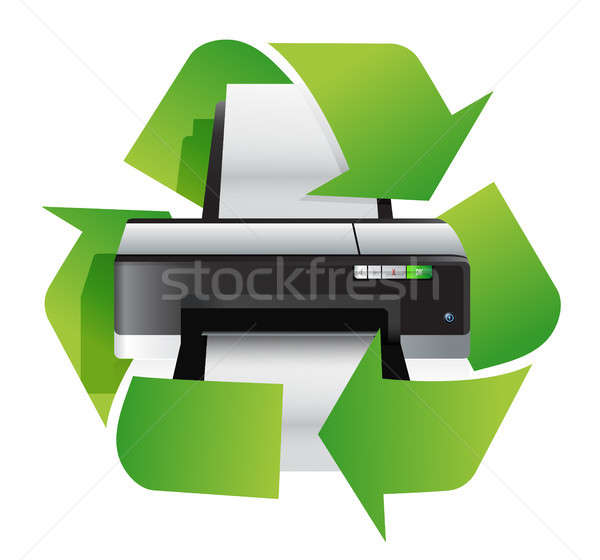 Printer recycleren illustratie ontwerp witte kantoor Stockfoto © alexmillos