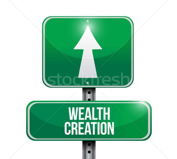 Bogactwo tworzenie znak drogowy projektu biały Zdjęcia stock © alexmillos