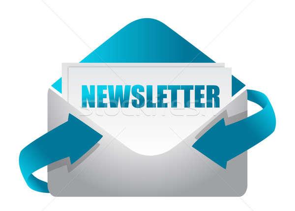 newsletter envelope illustration design on white illustration Stock photo © alexmillos