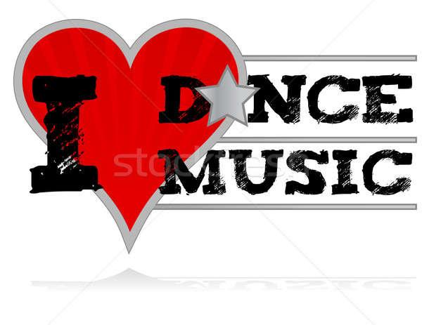 I love dance music design heart over a white background. Stock photo © alexmillos