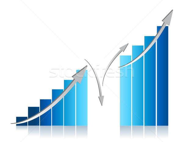 Kék üzleti grafikon illusztráció terv fehér üzlet Stock fotó © alexmillos