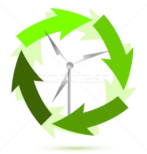 Wind mill wind power illustration design Stock photo © alexmillos