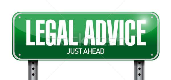 Juridische advies verkeersbord illustratie ontwerp witte Stockfoto © alexmillos