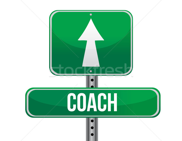 Coach panneau routier illustration design blanche affaires Photo stock © alexmillos