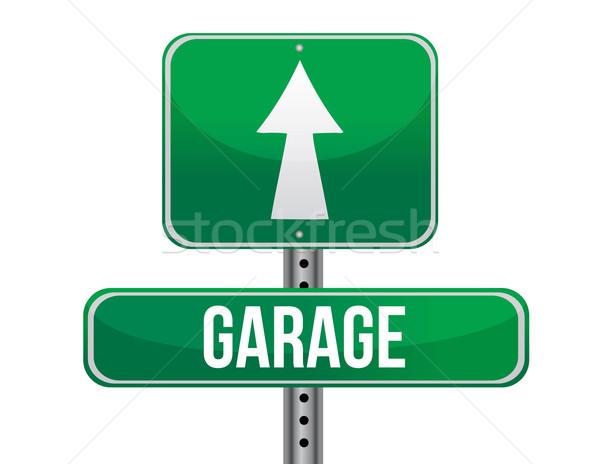 Garage road sign Stock photo © alexmillos