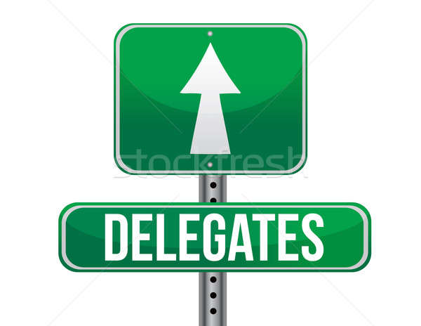 Delegates Green Road Sign illustration design over a white backg Stock photo © alexmillos