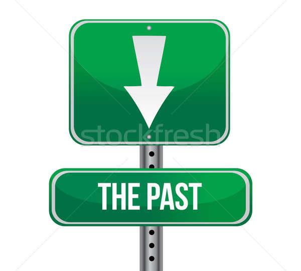 過去 後ろ 緑 道路標識 実例 デザイン ストックフォト © alexmillos