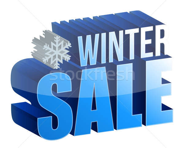 winter sale 3d text illustration design over white Stock photo © alexmillos
