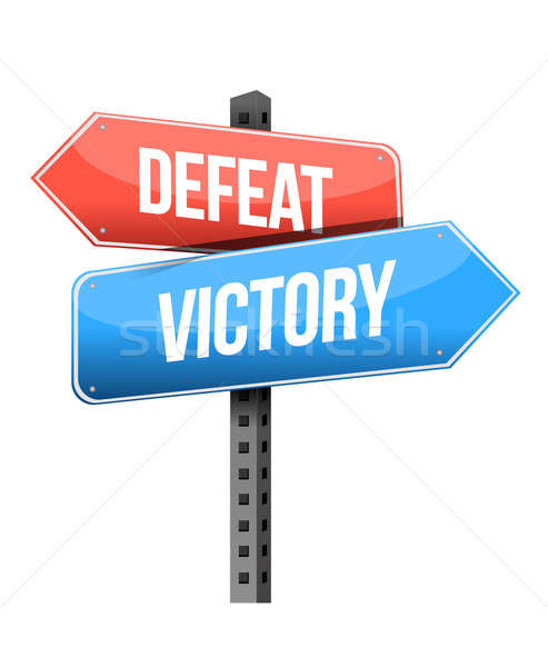 defeat, victory road sign illustration design over a white backg Stock photo © alexmillos