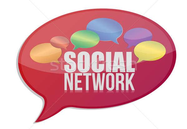 Stok fotoğraf: Sosyal · medya · ağ · mesaj · ikon · örnek · dizayn