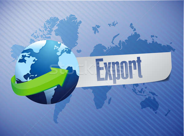 export world map illustration design over a blue background Stock photo © alexmillos