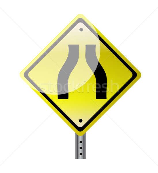 Keskeny út citromsárga jelzőtábla illusztráció terv Stock fotó © alexmillos