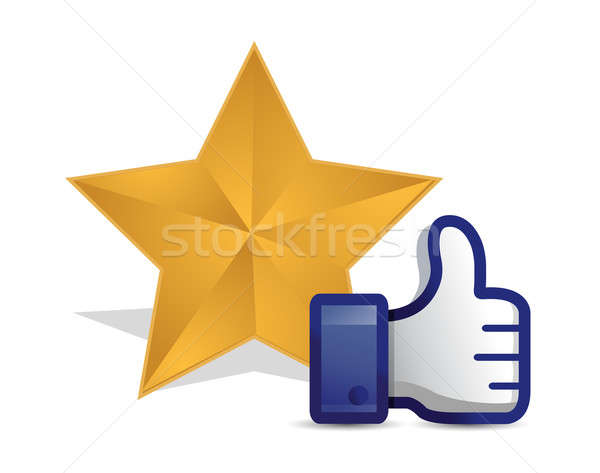 quality star review thumb up illustration design over a white ba Stock photo © alexmillos