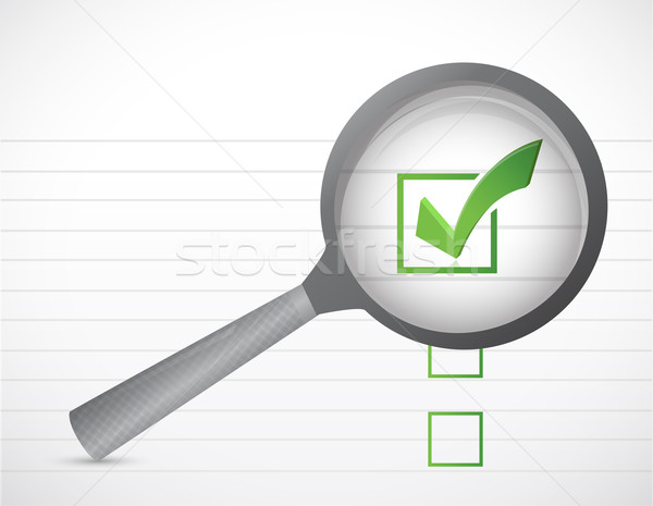check marks list and magnify illustration design over a white ba Stock photo © alexmillos
