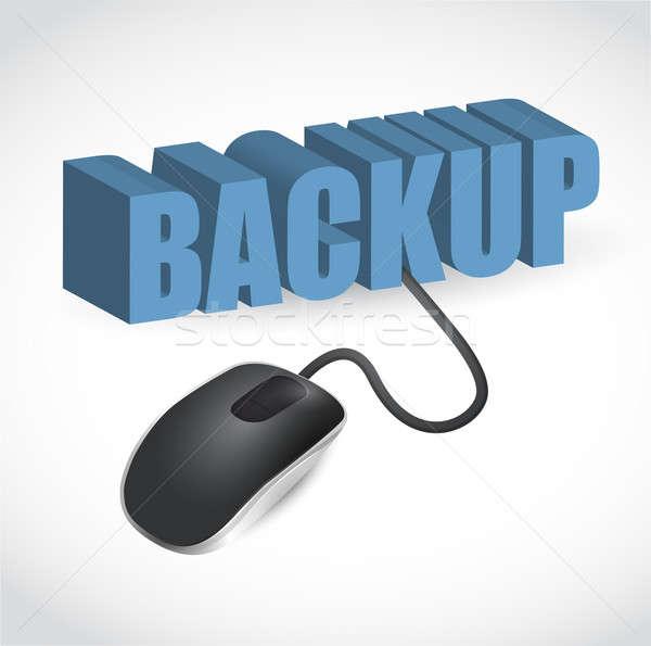 Ratón de la computadora azul palabra copia de seguridad ilustración Internet Foto stock © alexmillos