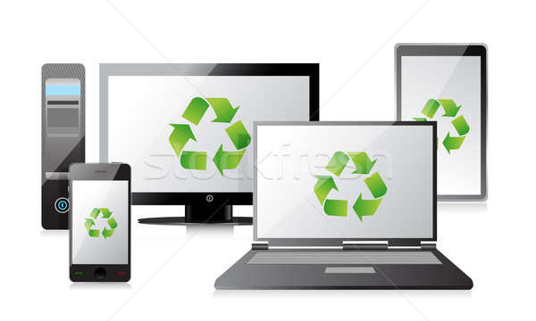 recycle Computer, Laptop Tablet and Phone and router illustratio Stock photo © alexmillos