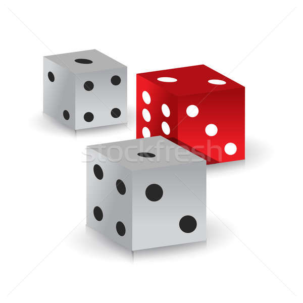 red and white gamble dices illustration design over white Stock photo © alexmillos