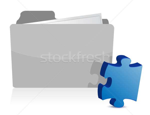 Puzzle piece files folder illustration design over white Stock photo © alexmillos
